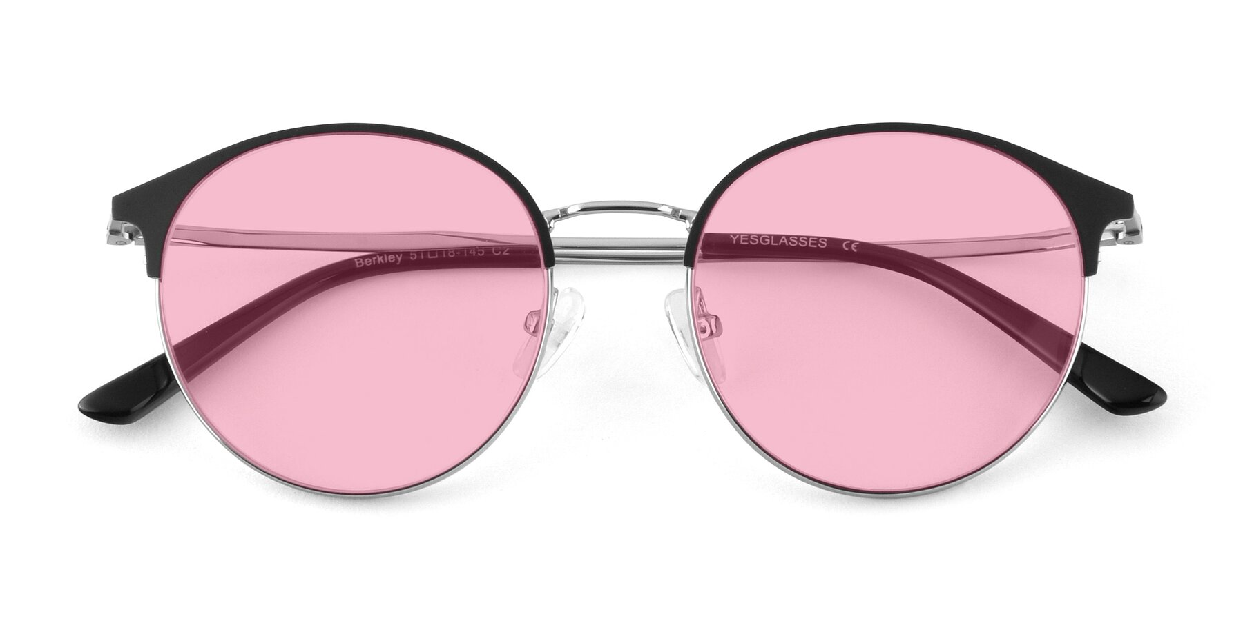 Folded Front of Berkley in Black-Silver with Medium Pink Tinted Lenses