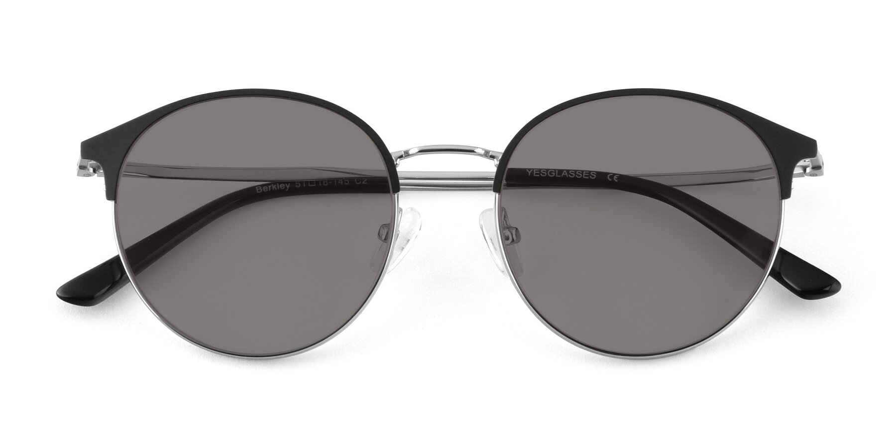Folded Front of Berkley in Black-Silver with Medium Gray Tinted Lenses