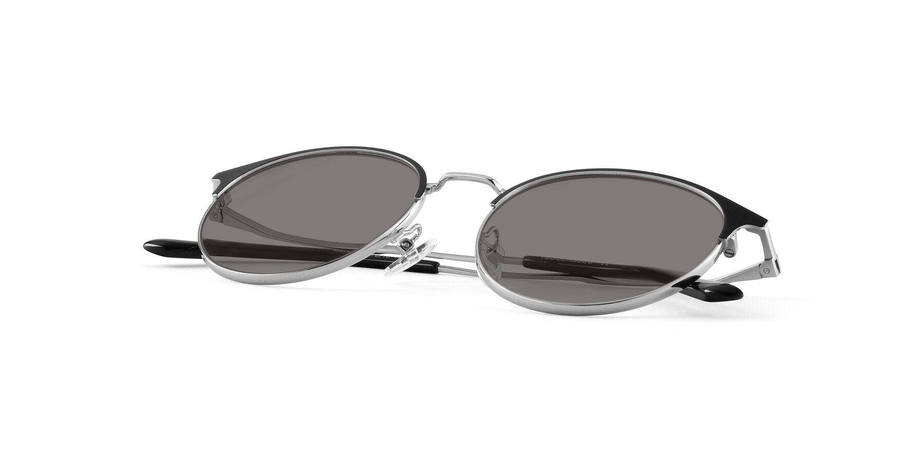 View of Berkley in Black-Silver with Medium Gray Tinted Lenses