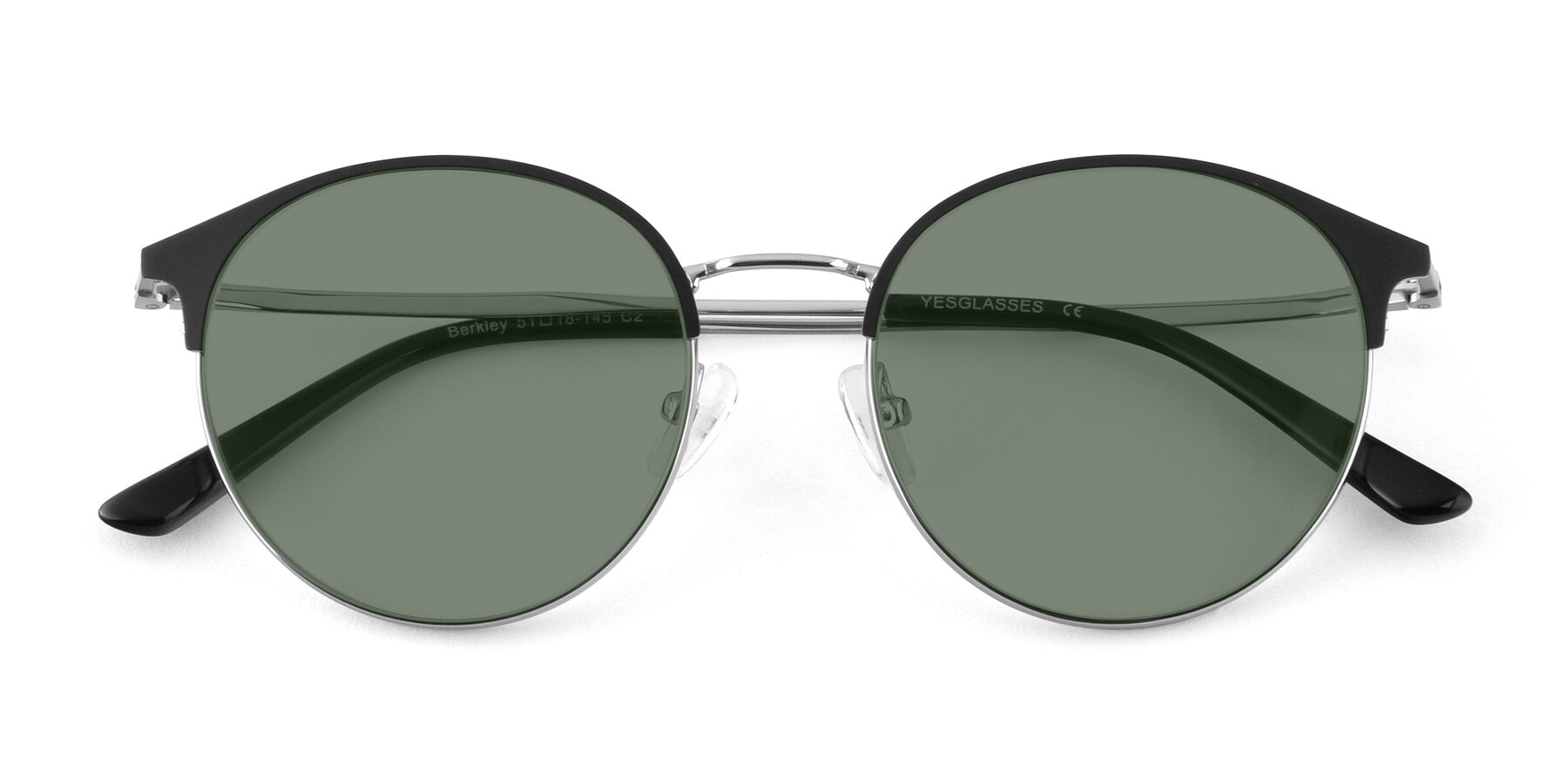 Folded Front of Berkley in Black-Silver with Medium Green Tinted Lenses