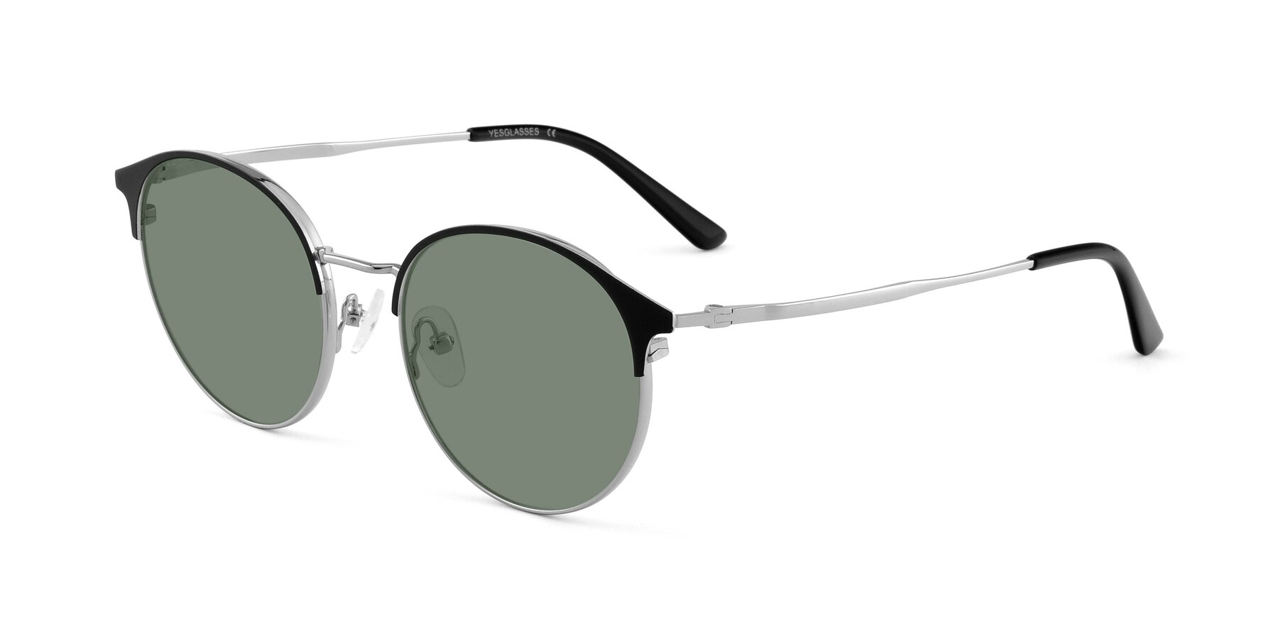 Angle of Berkley in Black-Silver with Medium Green Tinted Lenses