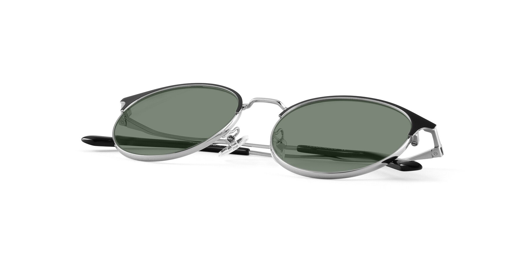 View of Berkley in Black-Silver with Medium Green Tinted Lenses