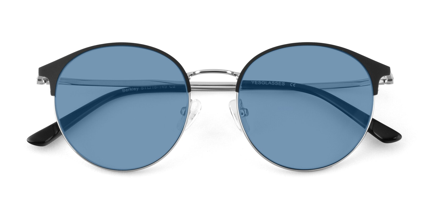 Folded Front of Berkley in Black-Silver with Medium Blue Tinted Lenses
