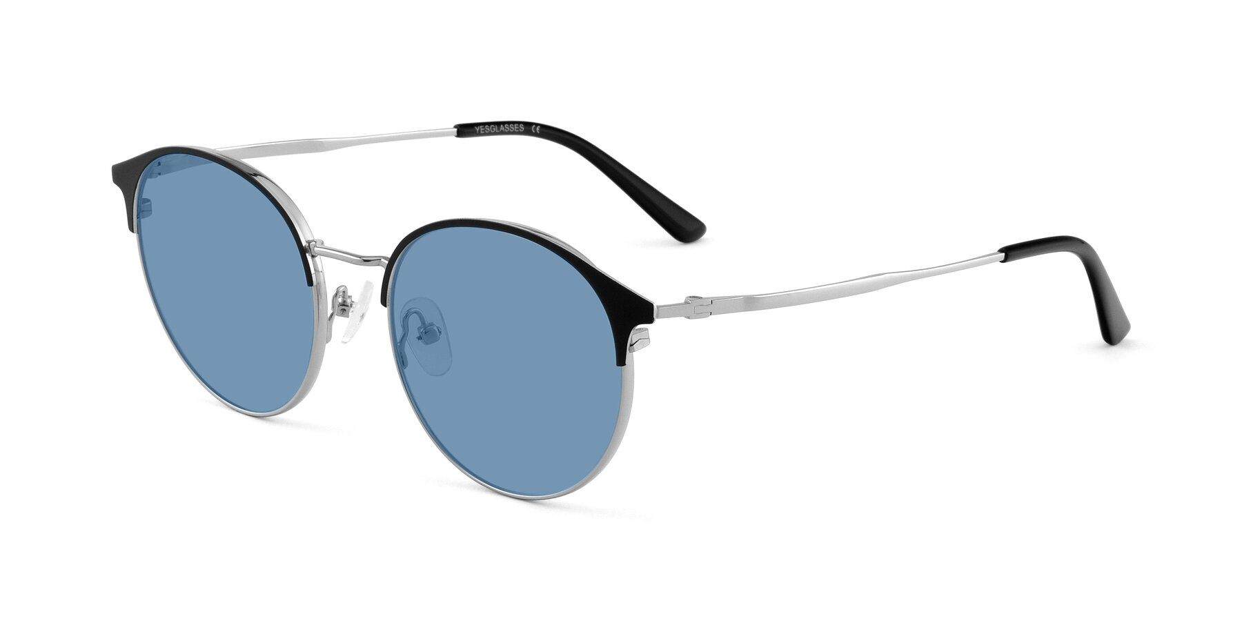 Angle of Berkley in Black-Silver with Medium Blue Tinted Lenses