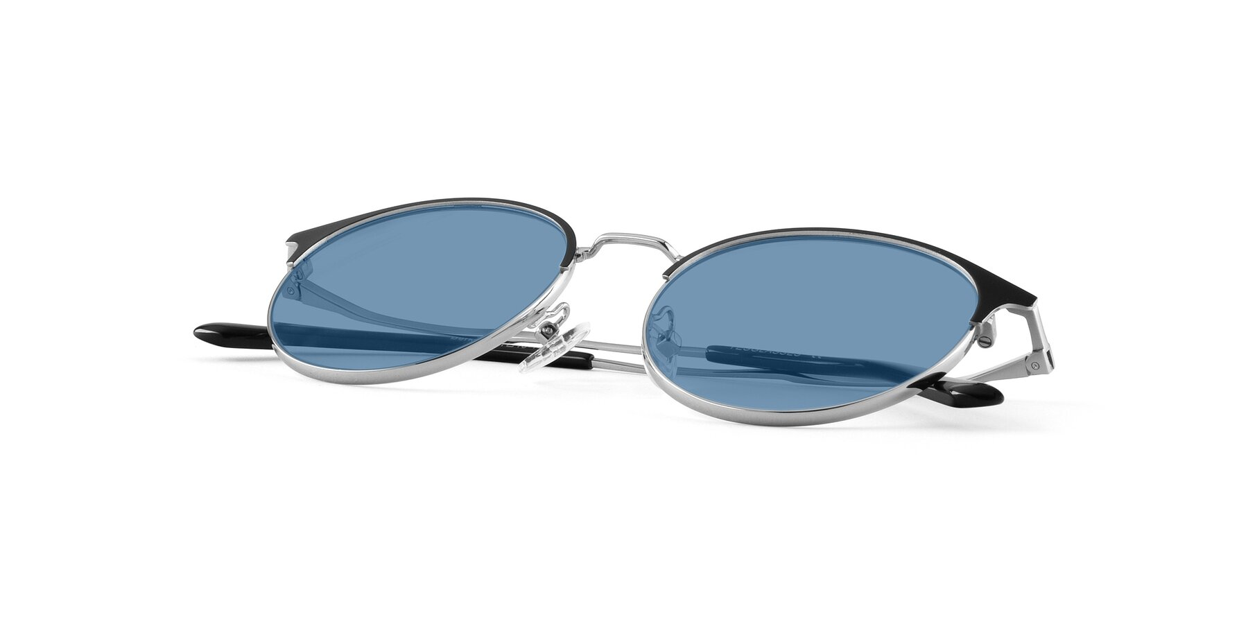View of Berkley in Black-Silver with Medium Blue Tinted Lenses