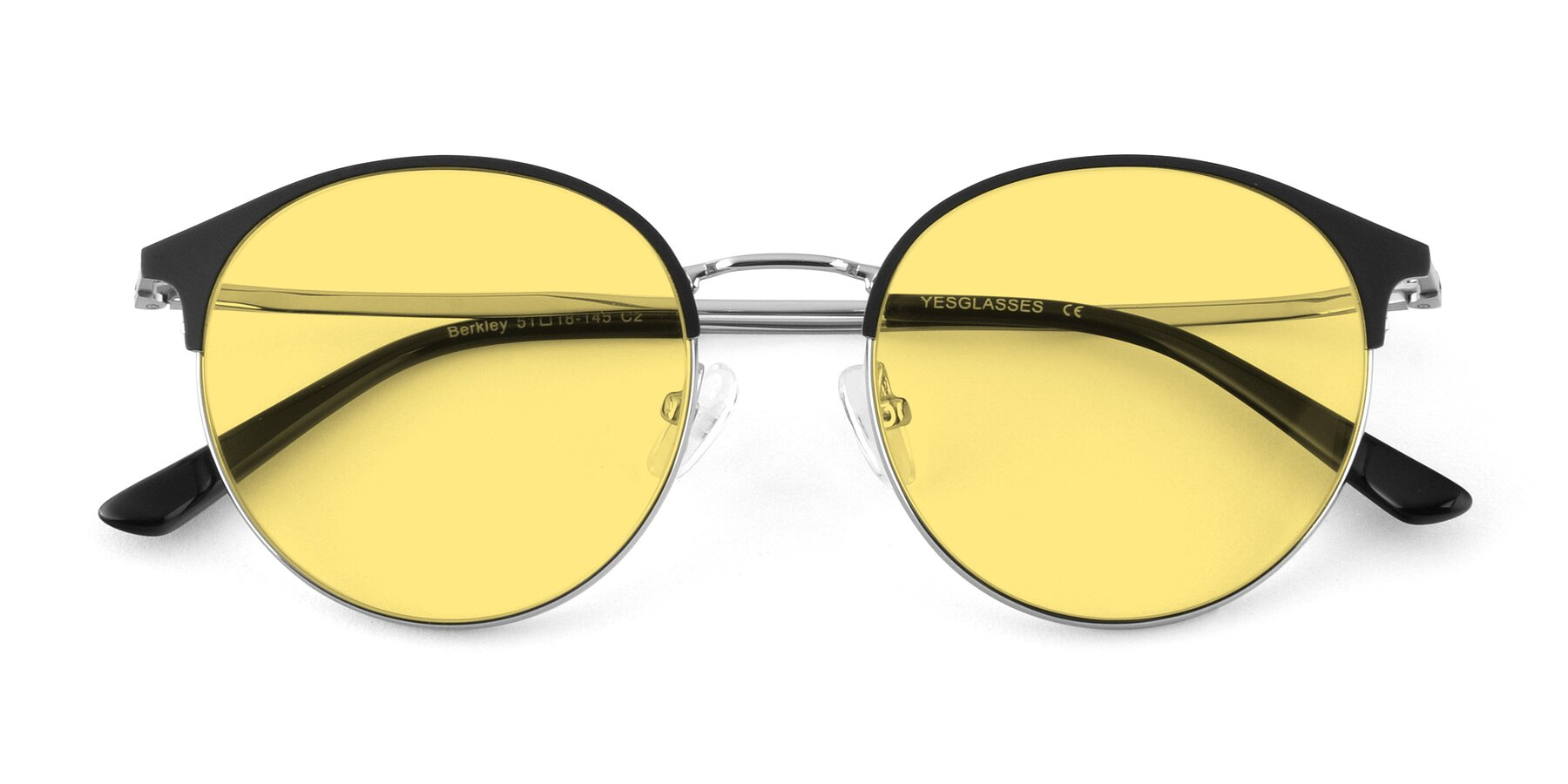 Folded Front of Berkley in Black-Silver with Medium Yellow Tinted Lenses
