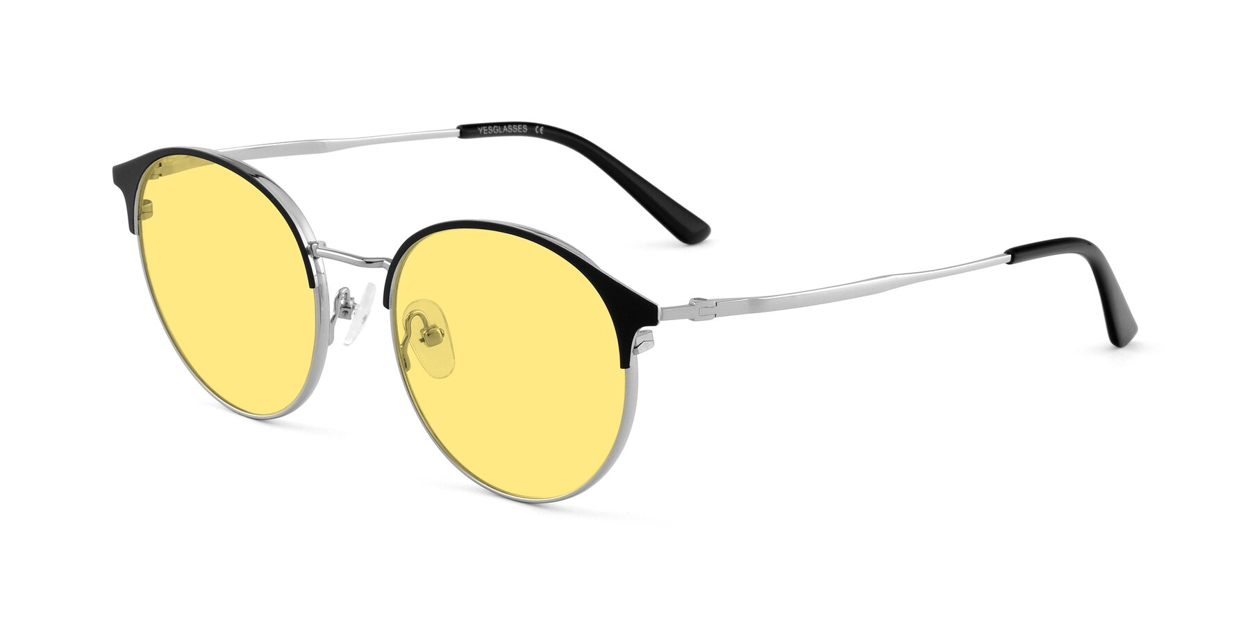 Angle of Berkley in Black-Silver with Medium Yellow Tinted Lenses