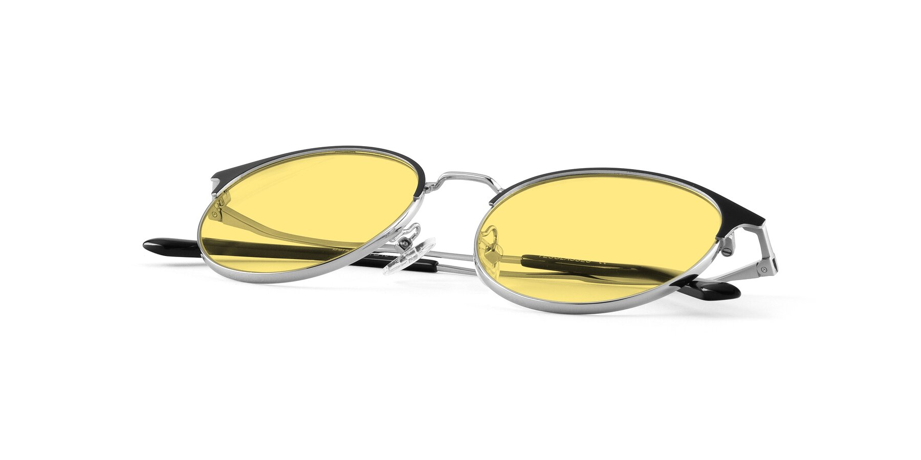 View of Berkley in Black-Silver with Medium Yellow Tinted Lenses