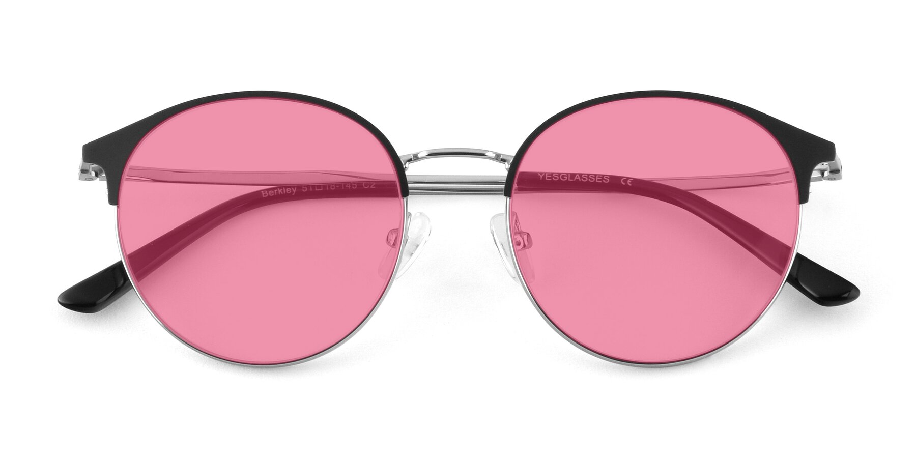 Folded Front of Berkley in Black-Silver with Pink Tinted Lenses
