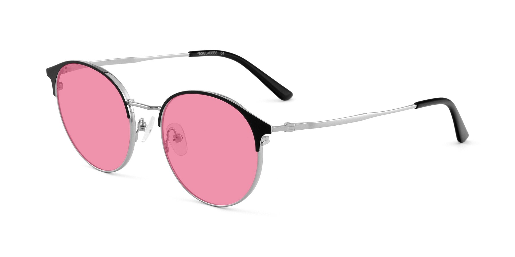 Angle of Berkley in Black-Silver with Pink Tinted Lenses