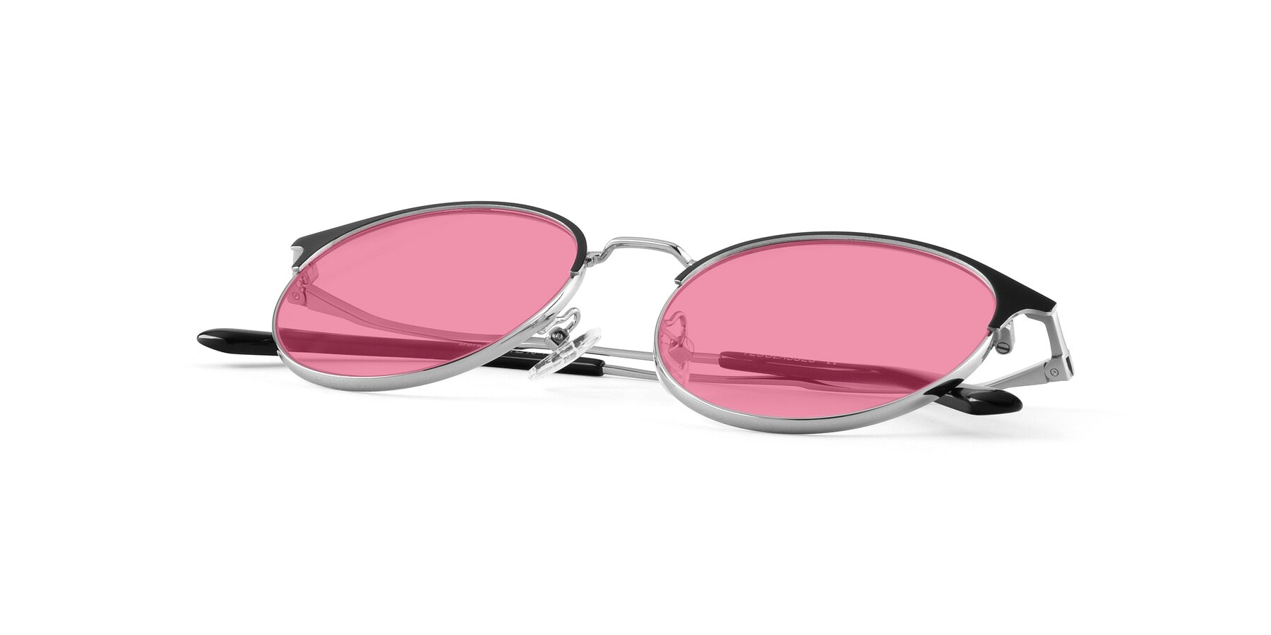 View of Berkley in Black-Silver with Pink Tinted Lenses