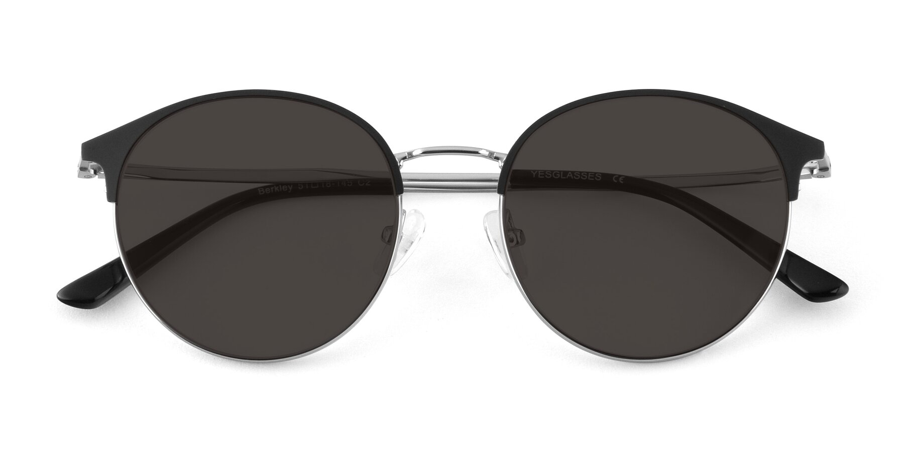 Folded Front of Berkley in Black-Silver with Gray Tinted Lenses