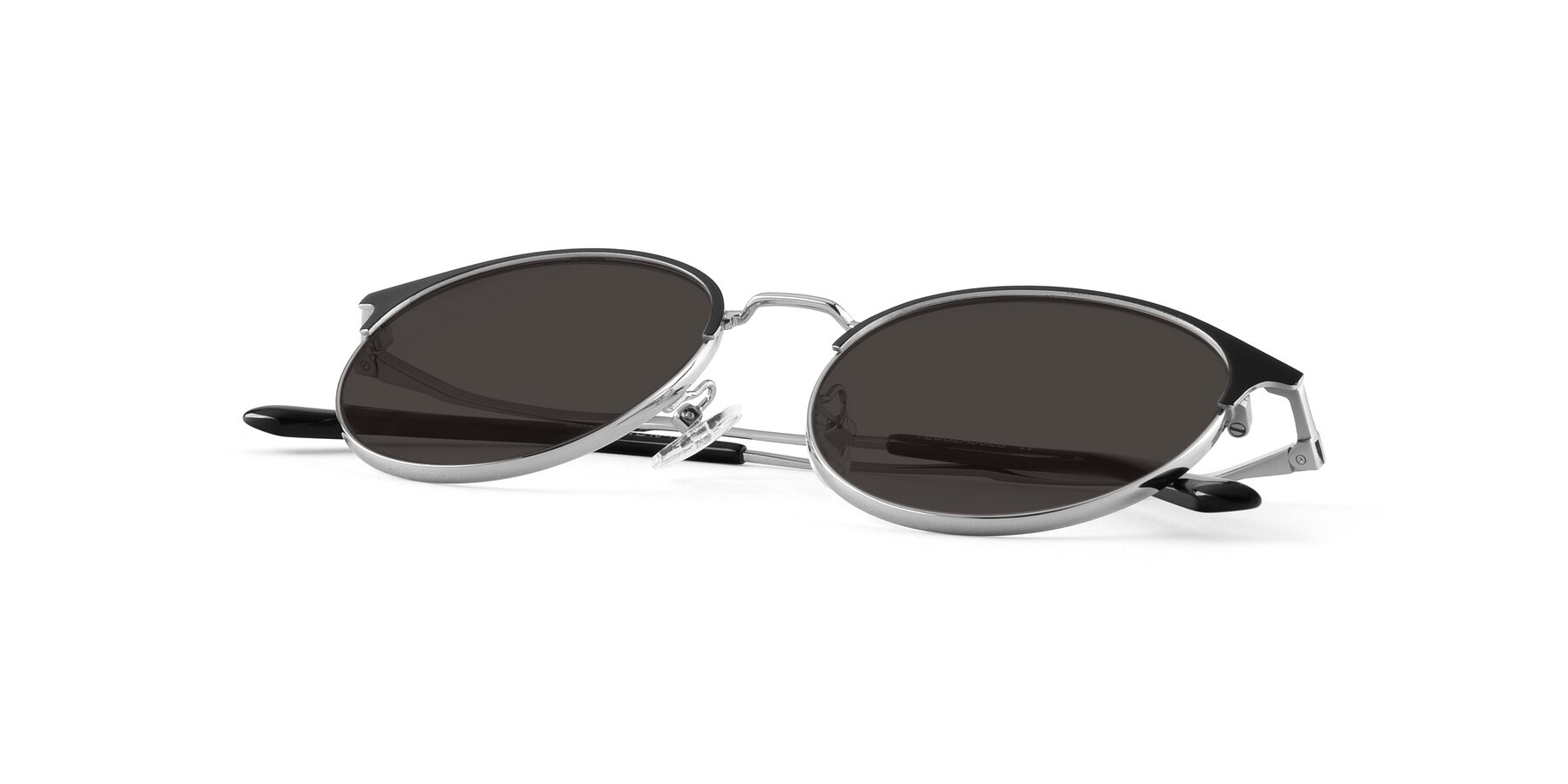 View of Berkley in Black-Silver with Gray Tinted Lenses