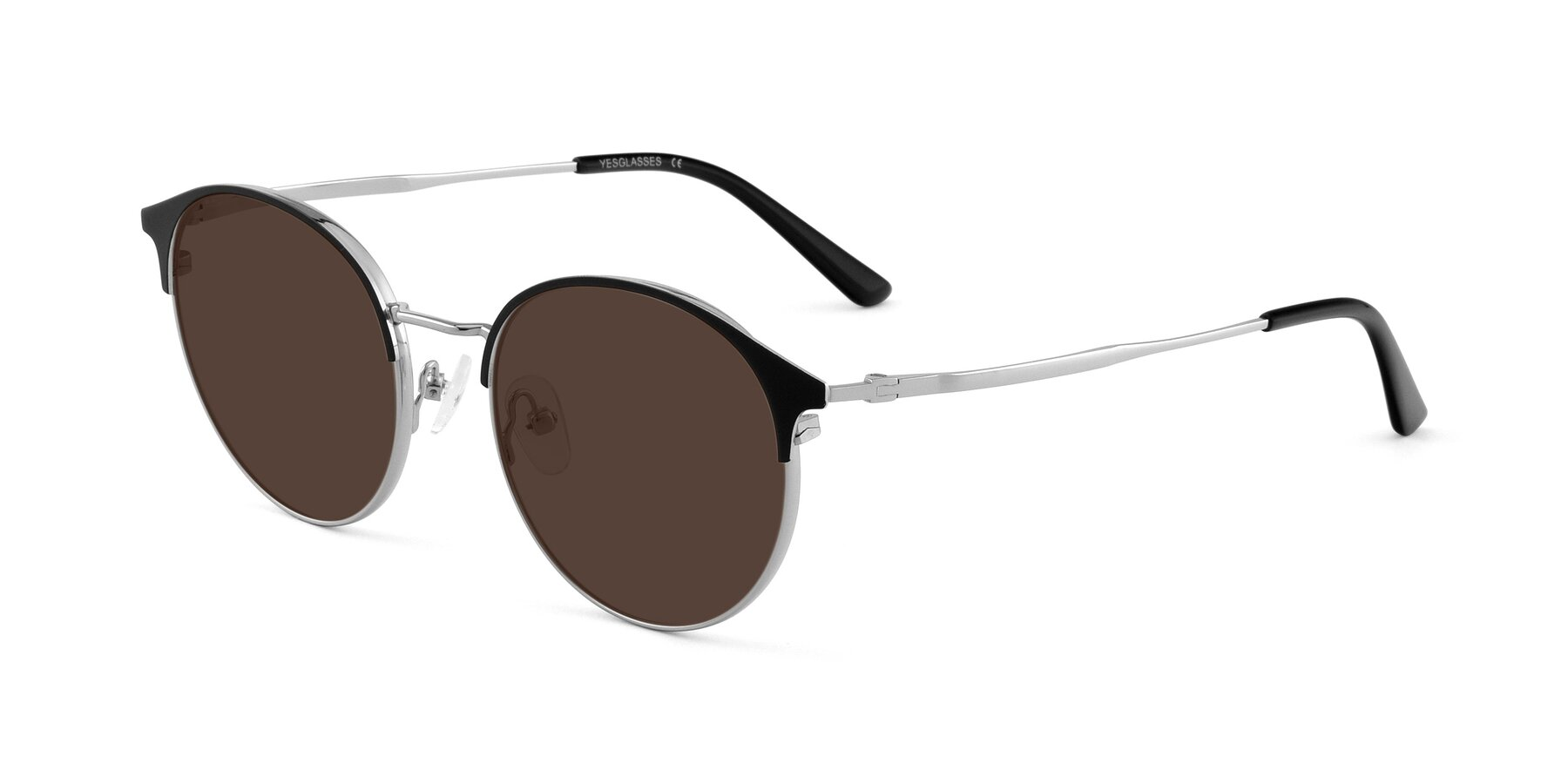 Angle of Berkley in Black-Silver with Brown Tinted Lenses