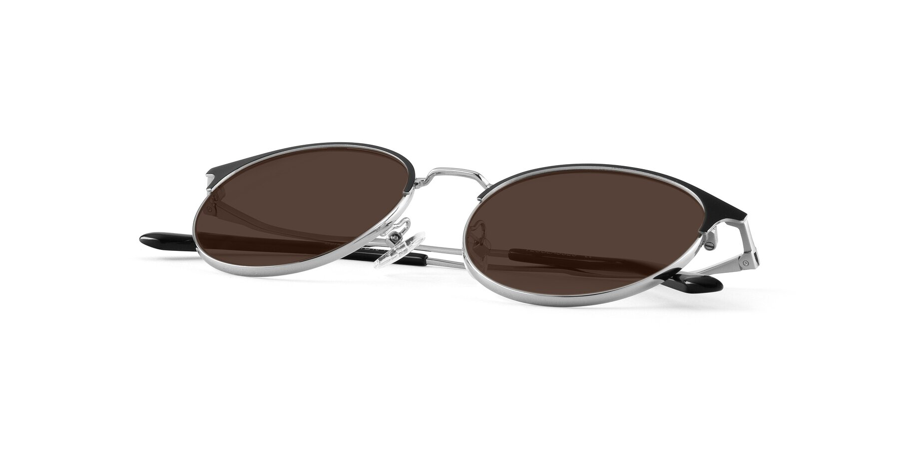 View of Berkley in Black-Silver with Brown Tinted Lenses