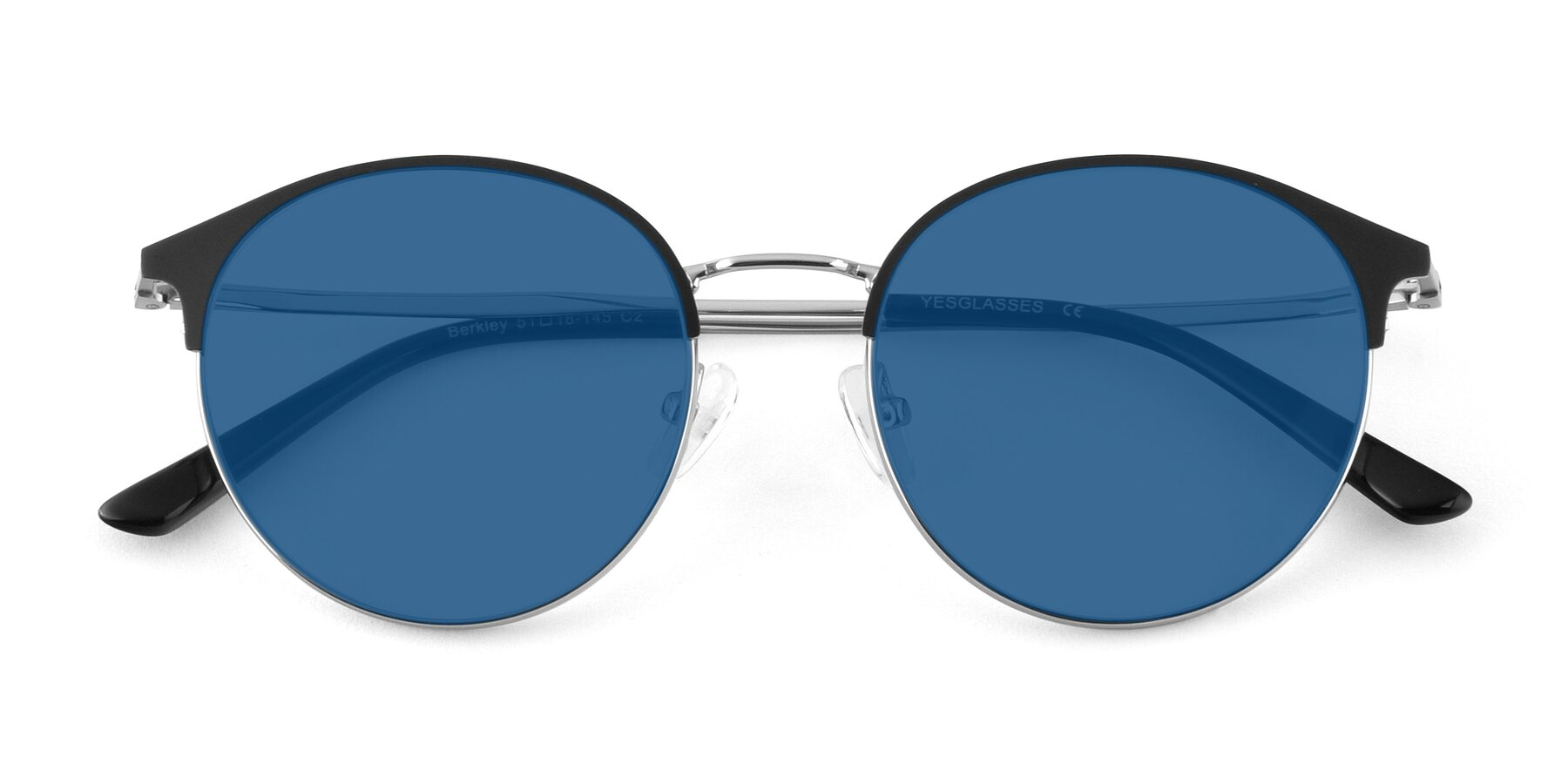Folded Front of Berkley in Black-Silver with Blue Tinted Lenses