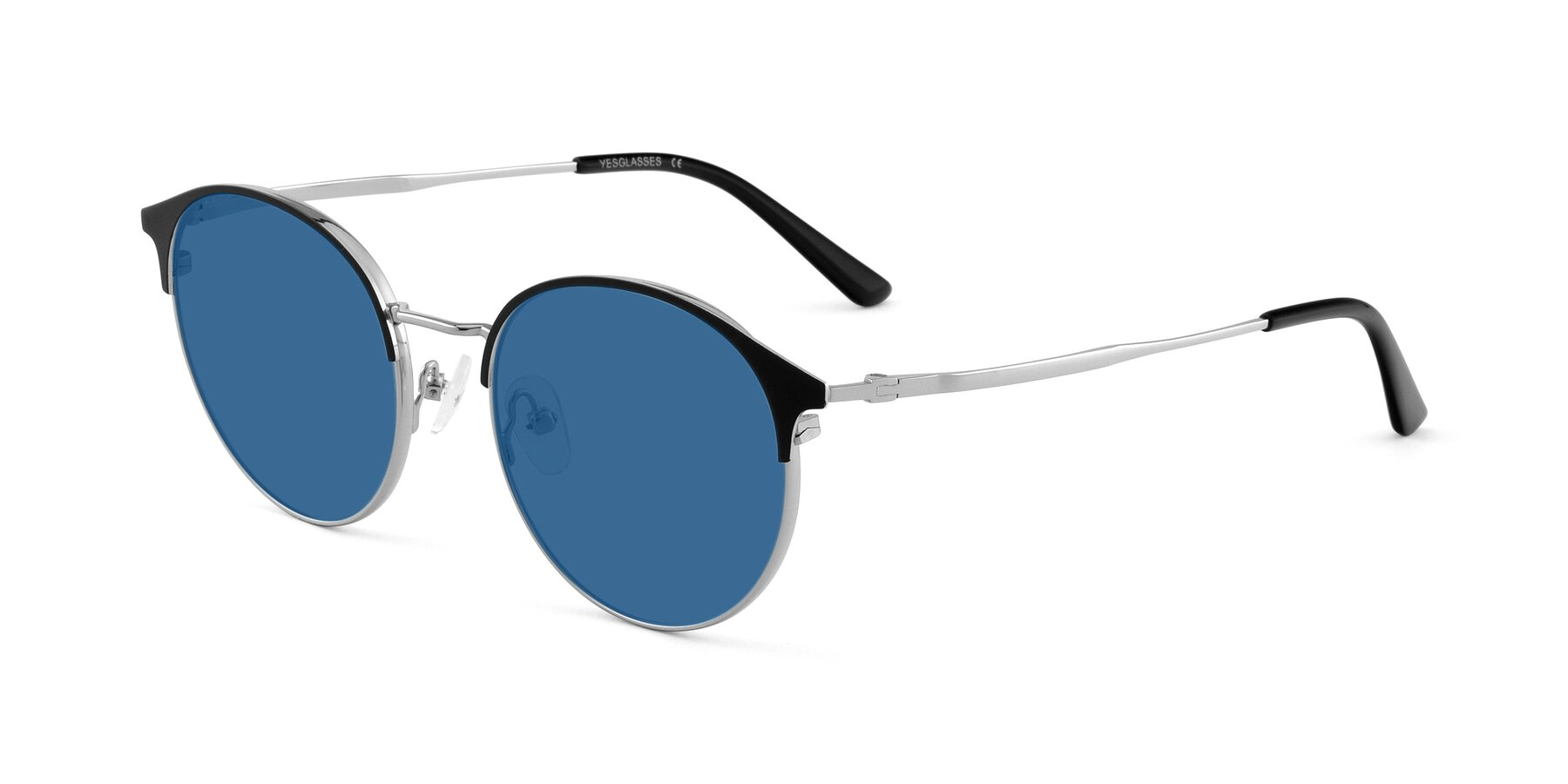 Angle of Berkley in Black-Silver with Blue Tinted Lenses