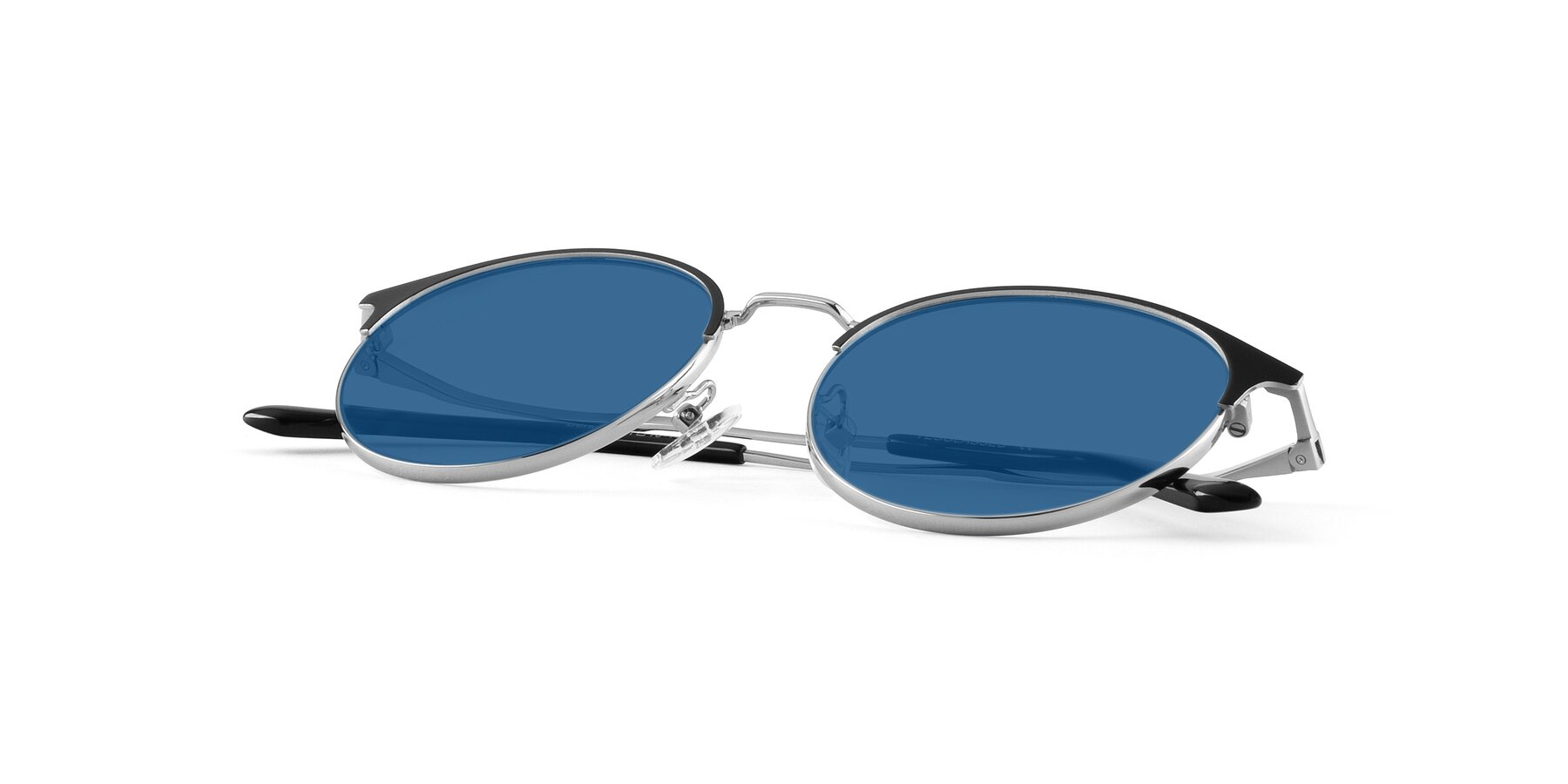 View of Berkley in Black-Silver with Blue Tinted Lenses