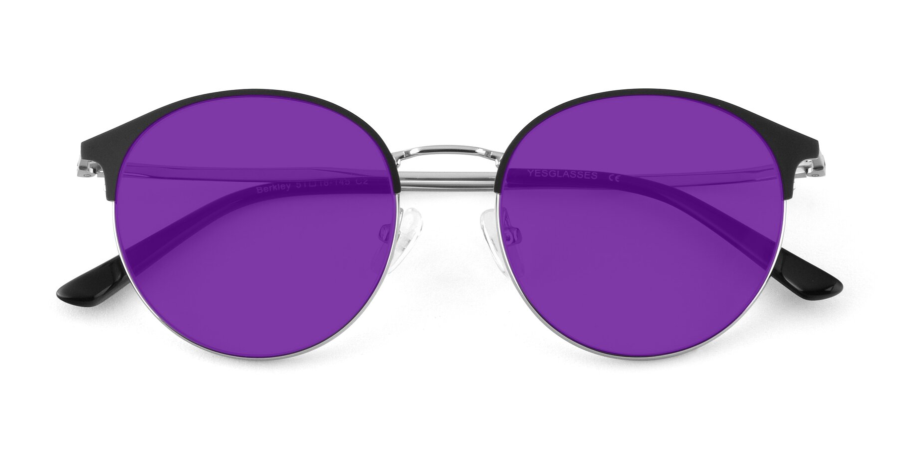 Folded Front of Berkley in Black-Sliver with Purple Tinted Lenses