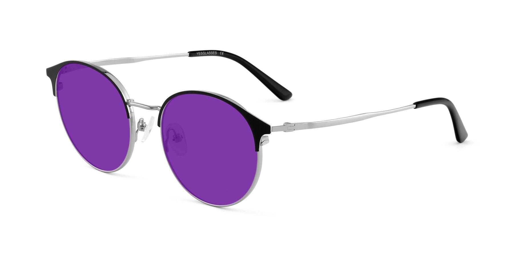 Angle of Berkley in Black-Sliver with Purple Tinted Lenses