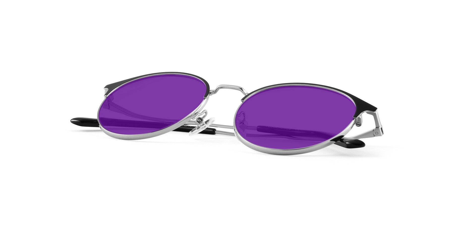 View of Berkley in Black-Sliver with Purple Tinted Lenses