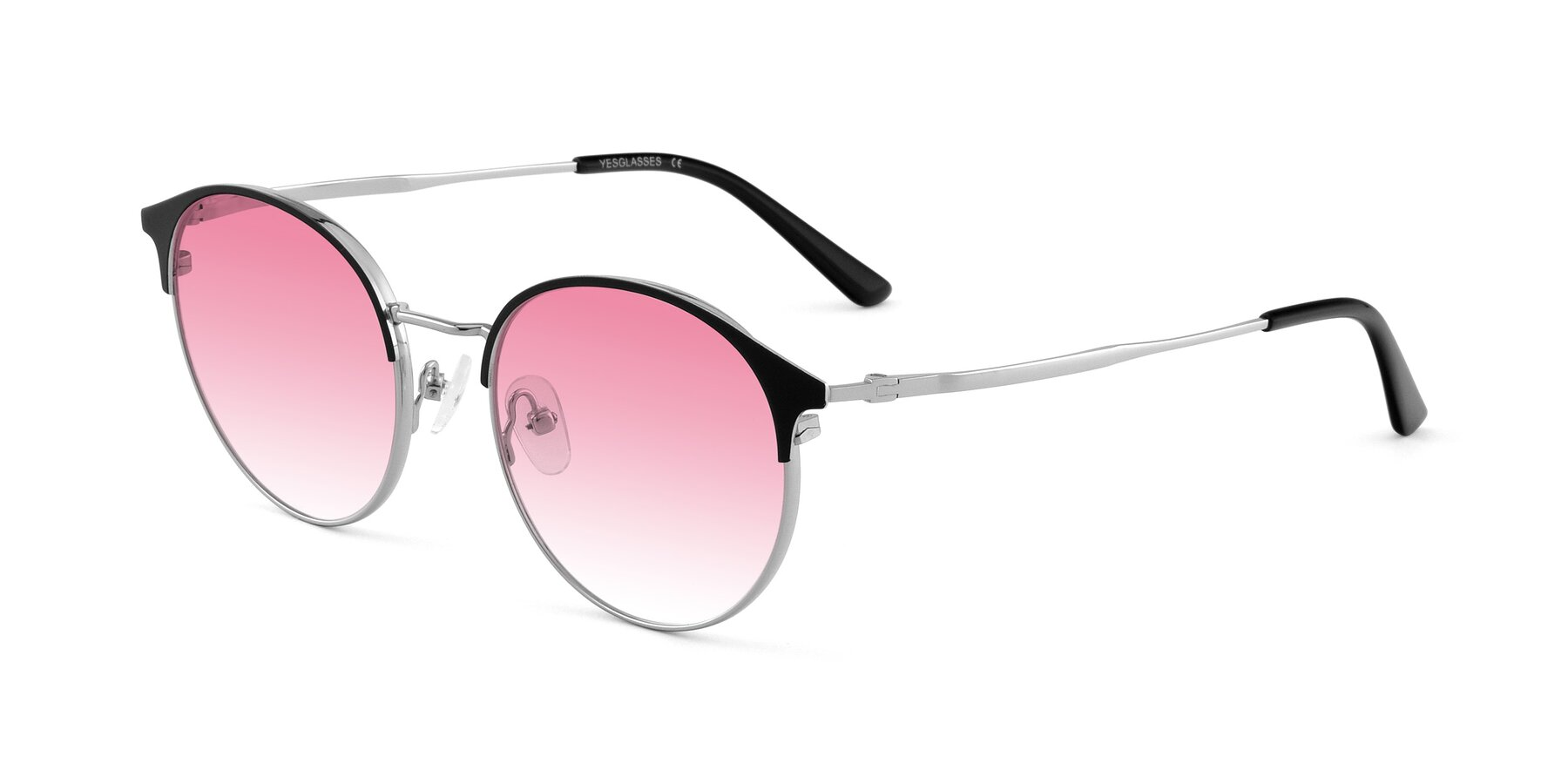 Angle of Berkley in Black-Sliver with Pink Gradient Lenses