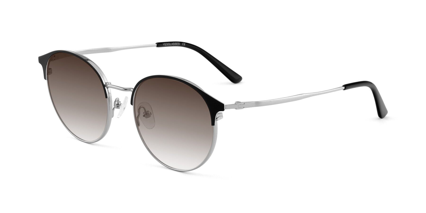 Angle of Berkley in Black-Silver with Brown Gradient Lenses