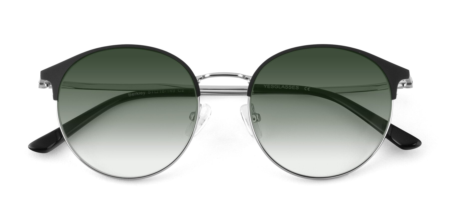 Folded Front of Berkley in Black-Silver with Green Gradient Lenses