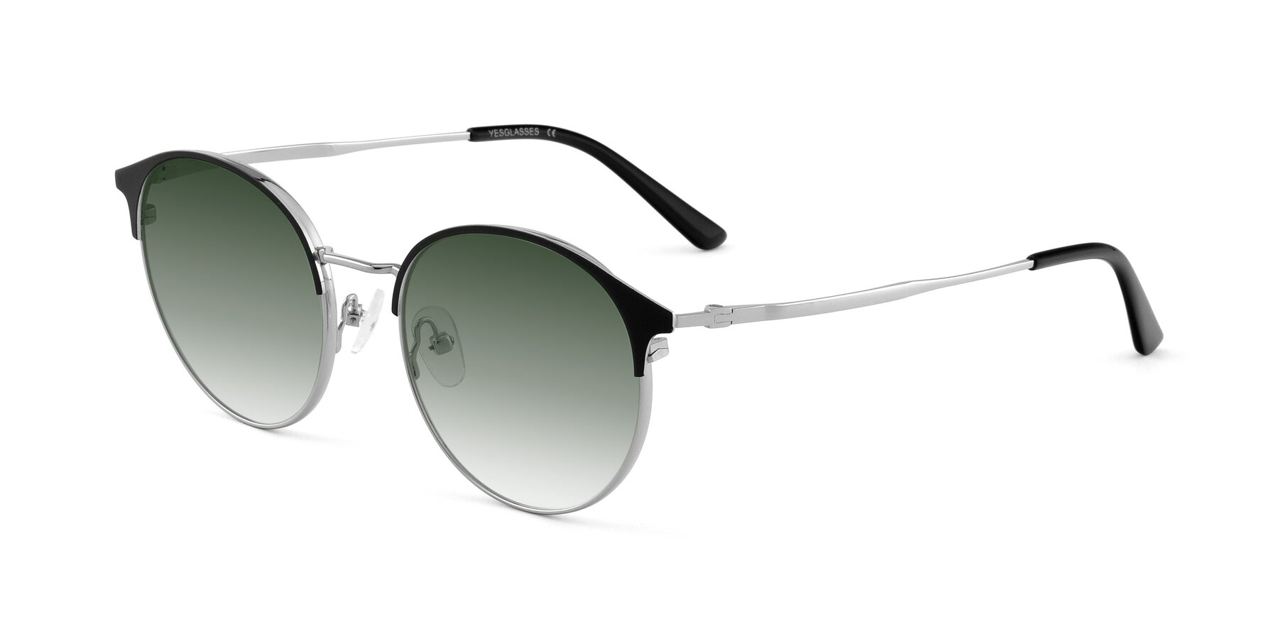 Angle of Berkley in Black-Silver with Green Gradient Lenses