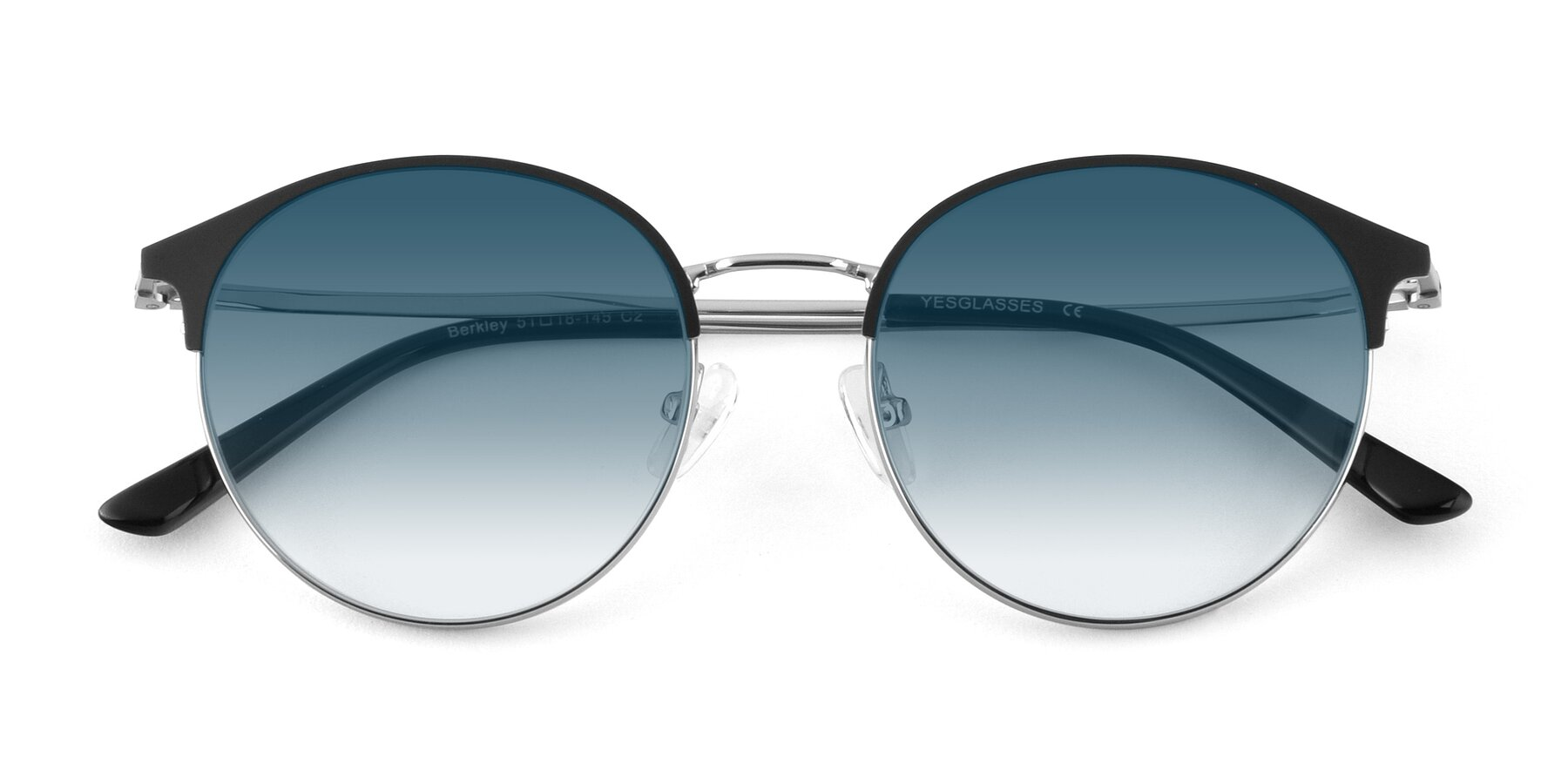 Folded Front of Berkley in Black-Silver with Blue Gradient Lenses