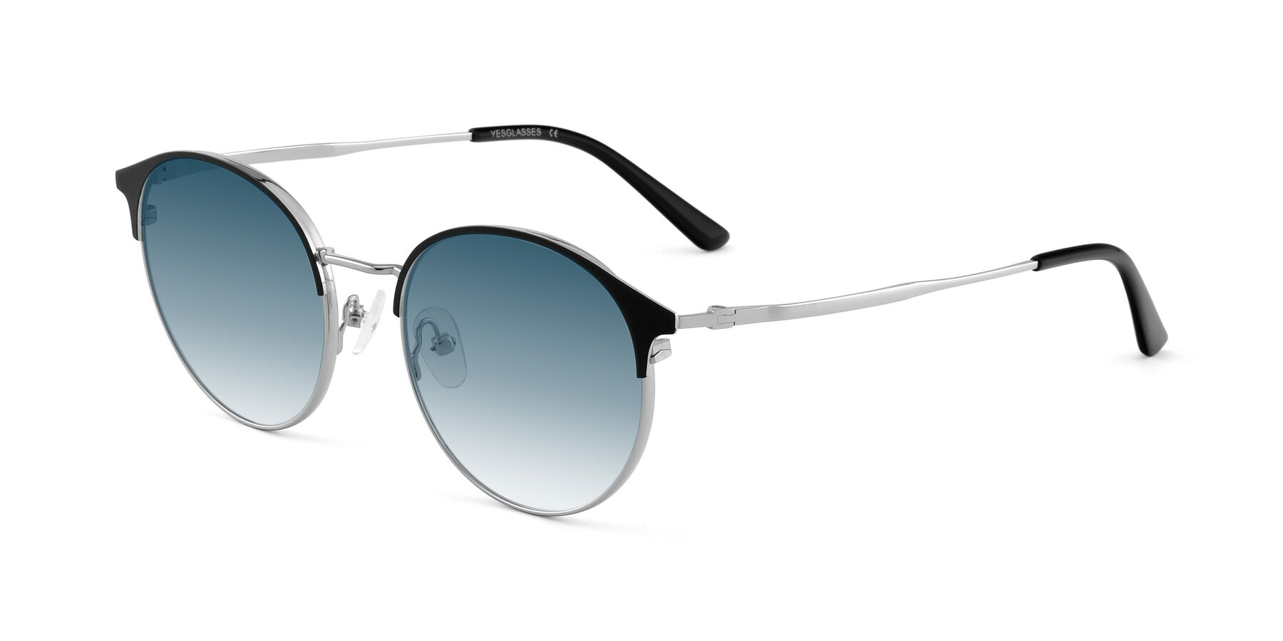 Angle of Berkley in Black-Silver with Blue Gradient Lenses