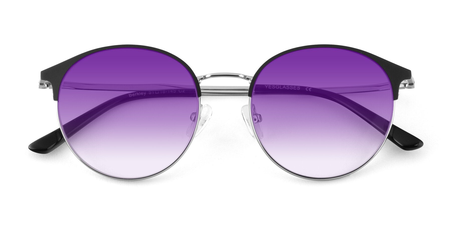 Folded Front of Berkley in Black-Silver with Purple Gradient Lenses