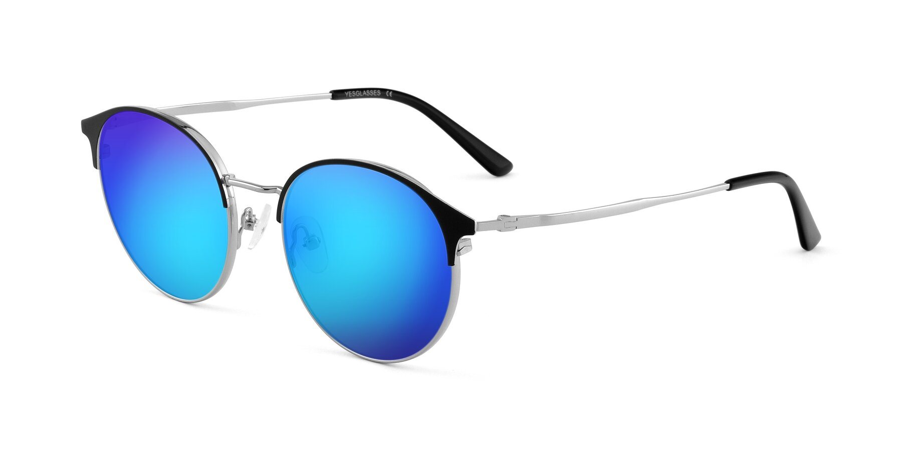 Angle of Berkley in Black-Sliver with Blue Mirrored Lenses