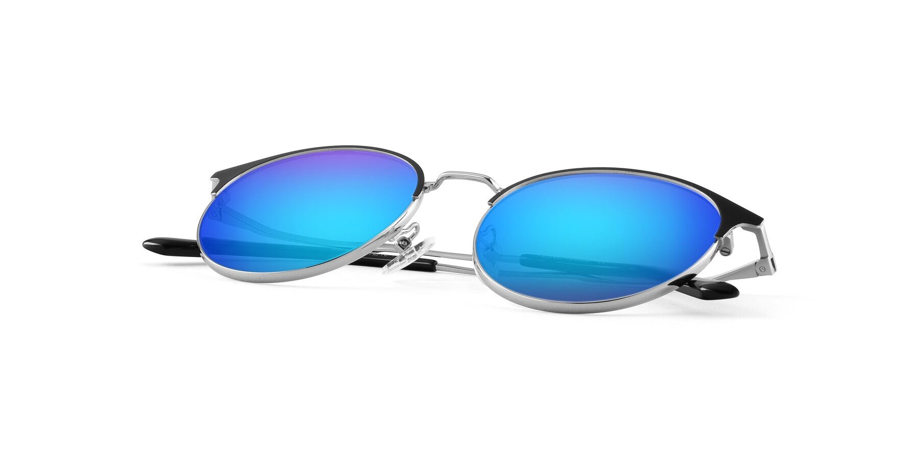 View of Berkley in Black-Sliver with Blue Mirrored Lenses