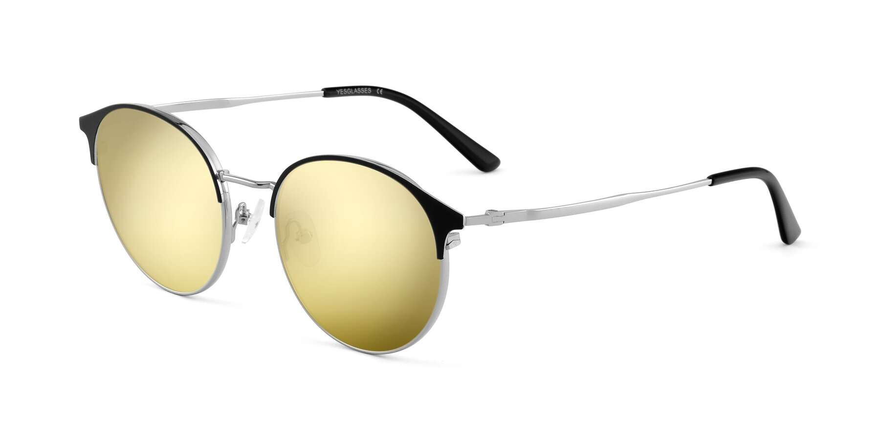 Angle of Berkley in Black-Sliver with Gold Mirrored Lenses