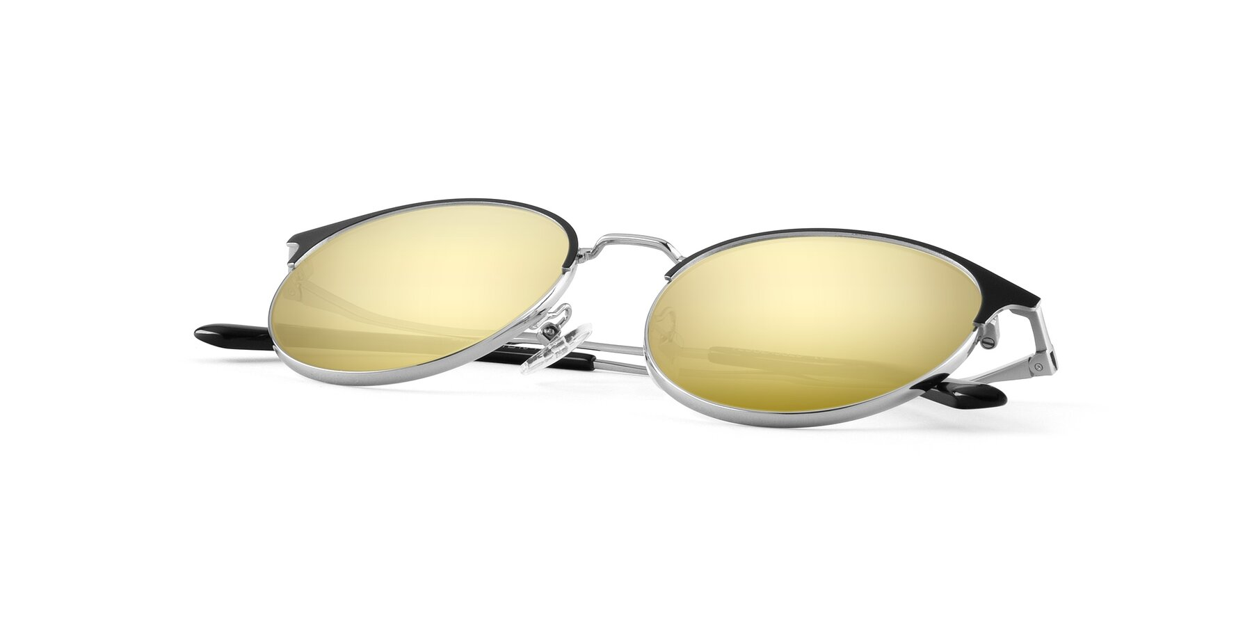 View of Berkley in Black-Sliver with Gold Mirrored Lenses