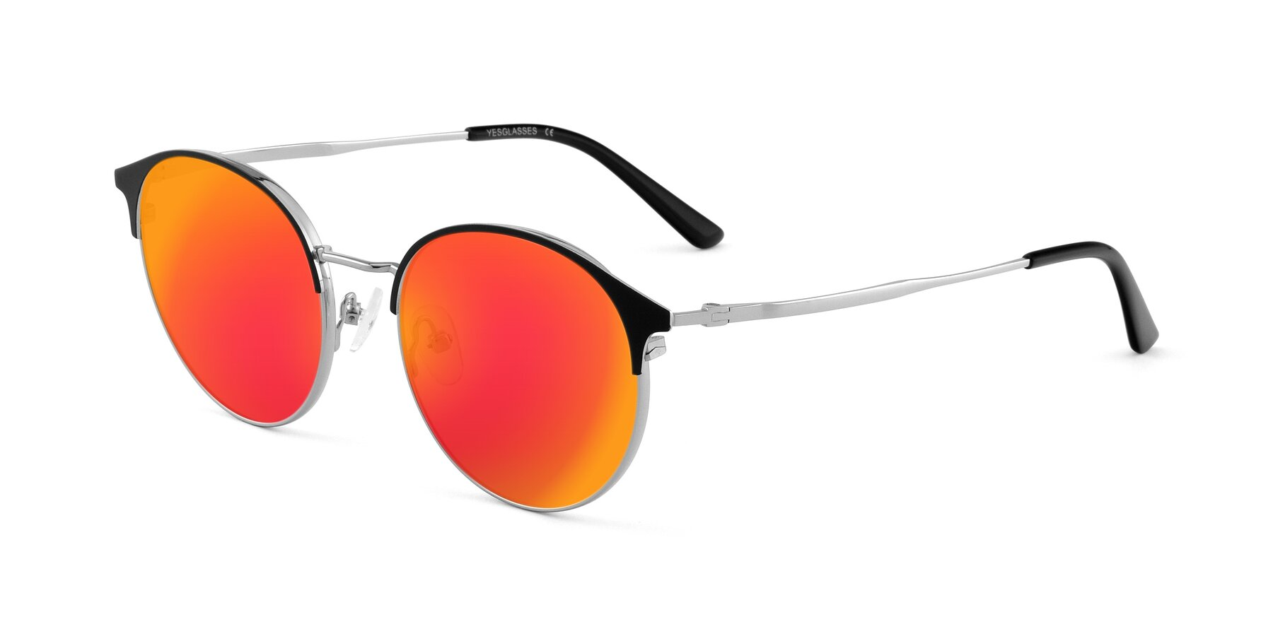Angle of Berkley in Black-Silver with Red Gold Mirrored Lenses