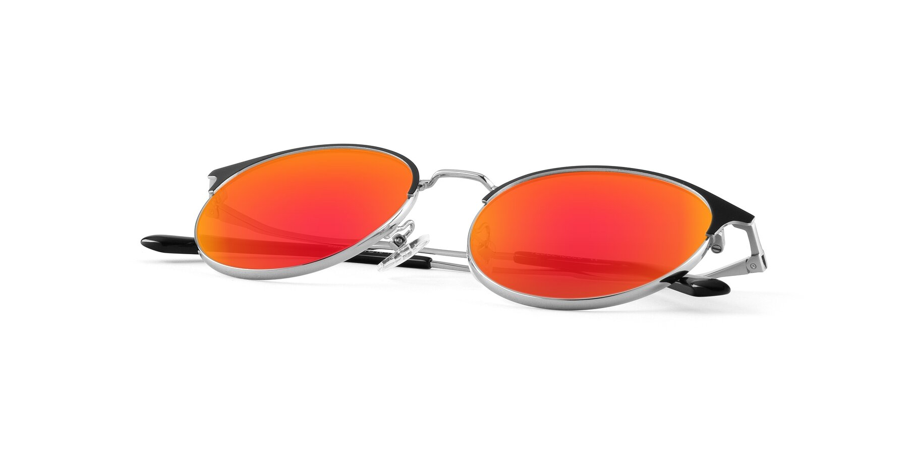 View of Berkley in Black-Silver with Red Gold Mirrored Lenses