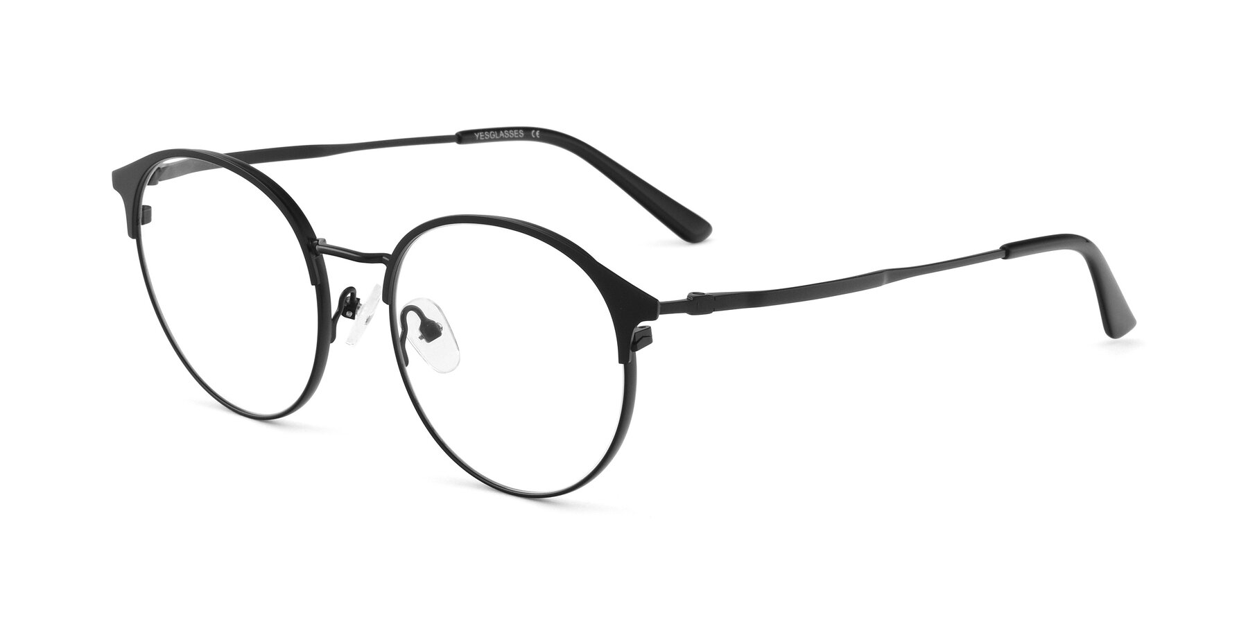 Angle of Berkley in Matte Black with Clear Eyeglass Lenses