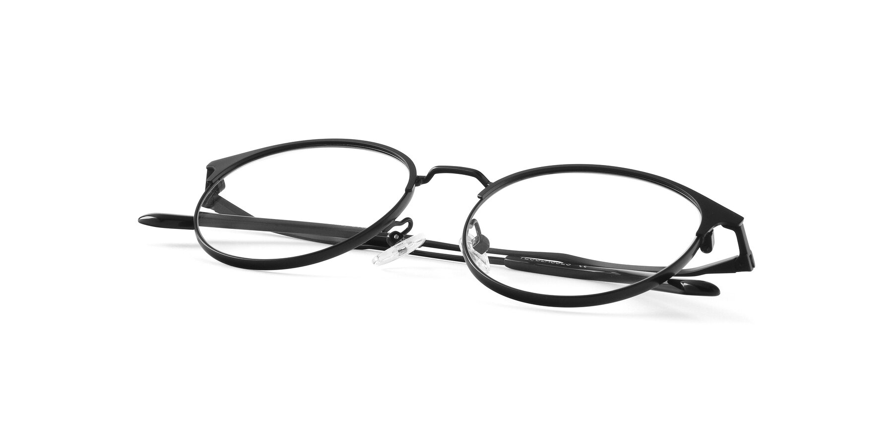 View of Berkley in Matte Black with Clear Blue Light Blocking Lenses
