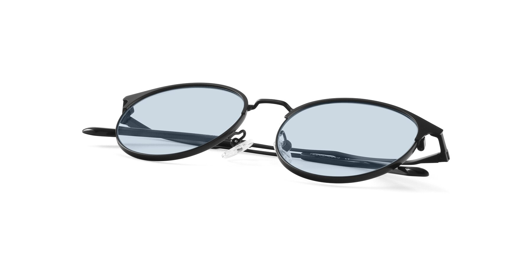 View of Berkley in Matte Black with Light Blue Tinted Lenses