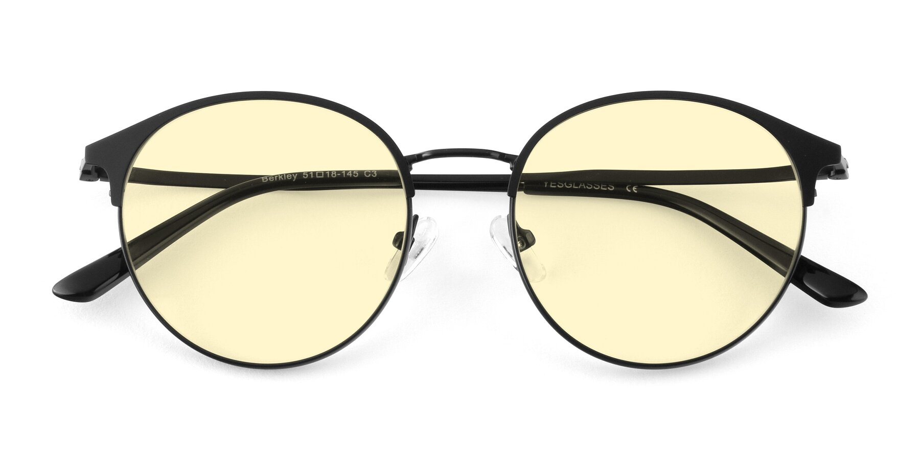 Folded Front of Berkley in Matte Black with Light Yellow Tinted Lenses