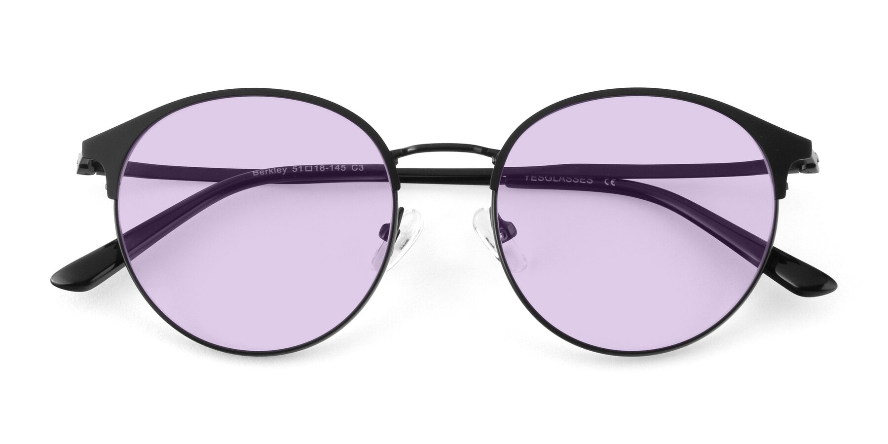 Folded Front of Berkley in Matte Black with Light Purple Tinted Lenses