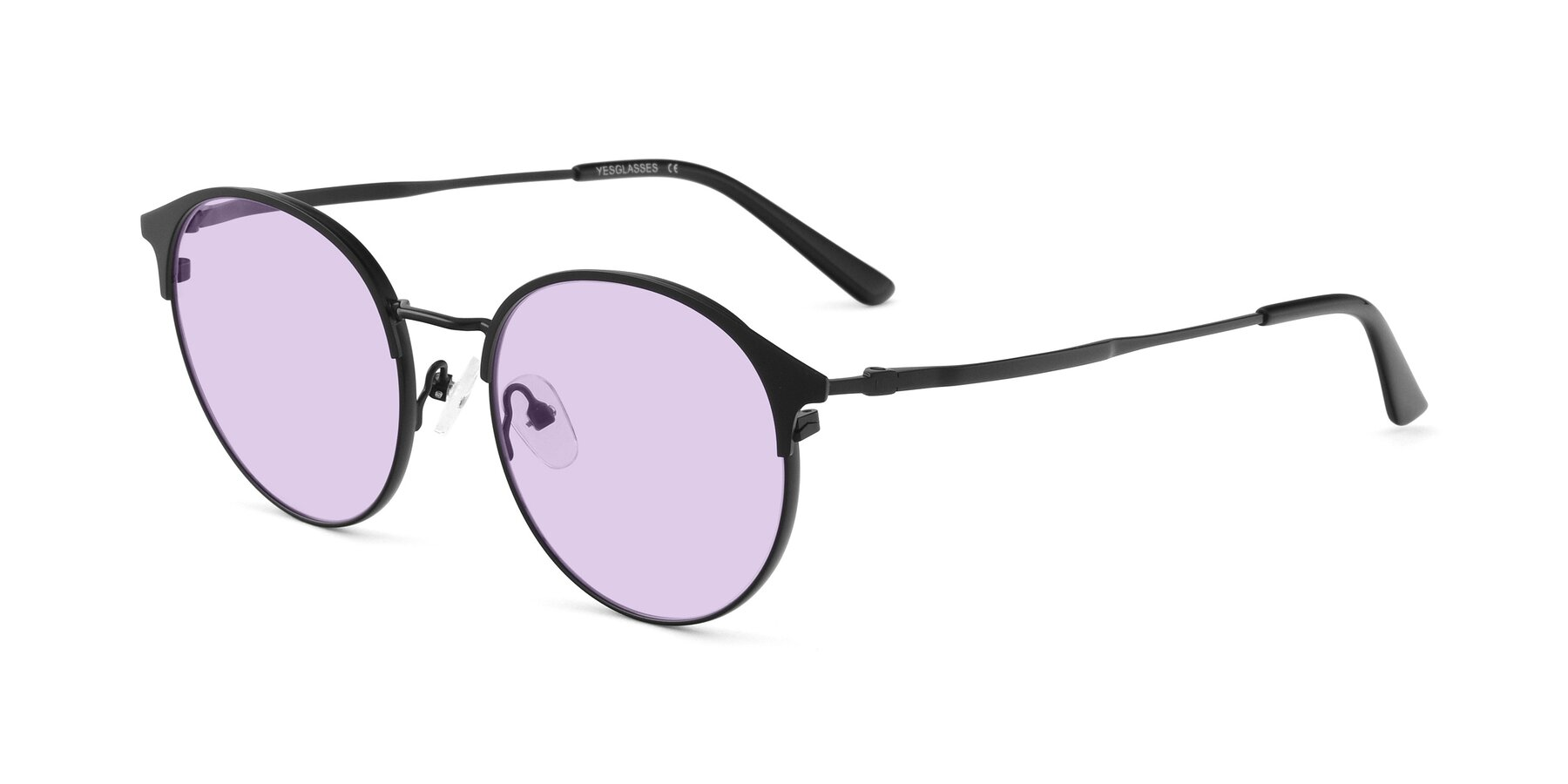 Angle of Berkley in Matte Black with Light Purple Tinted Lenses