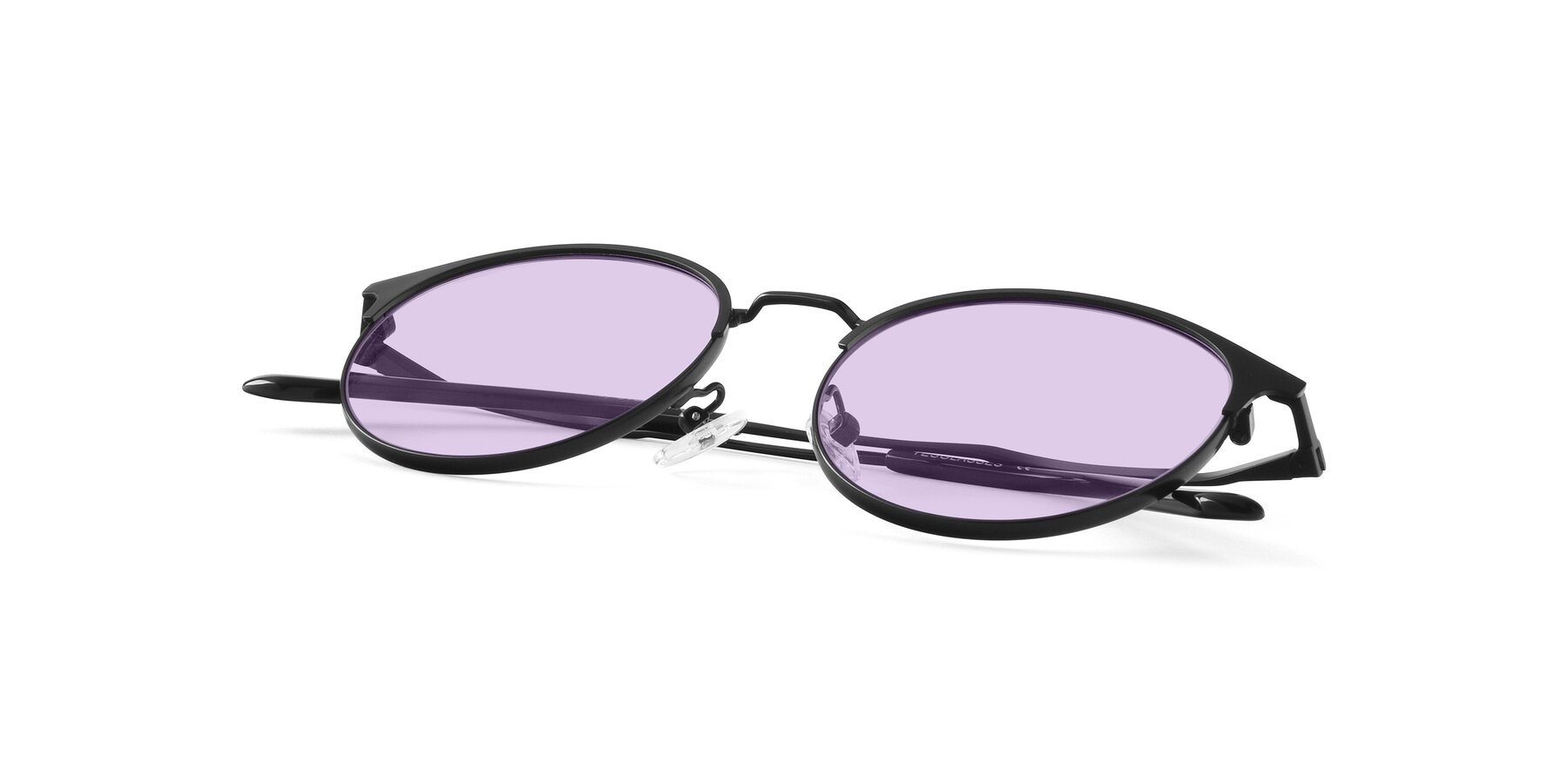 View of Berkley in Matte Black with Light Purple Tinted Lenses