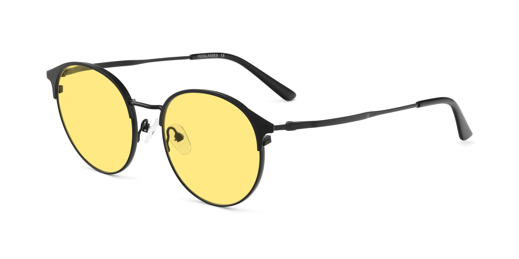 Angle of Berkley in Matte Black with Medium Yellow Tinted Lenses