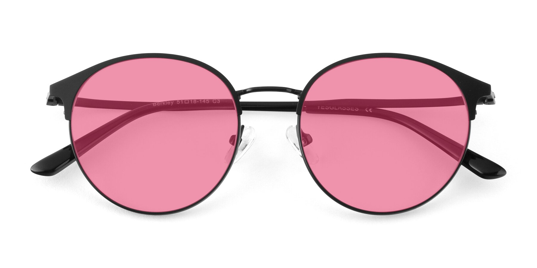 Folded Front of Berkley in Matte Black with Pink Tinted Lenses