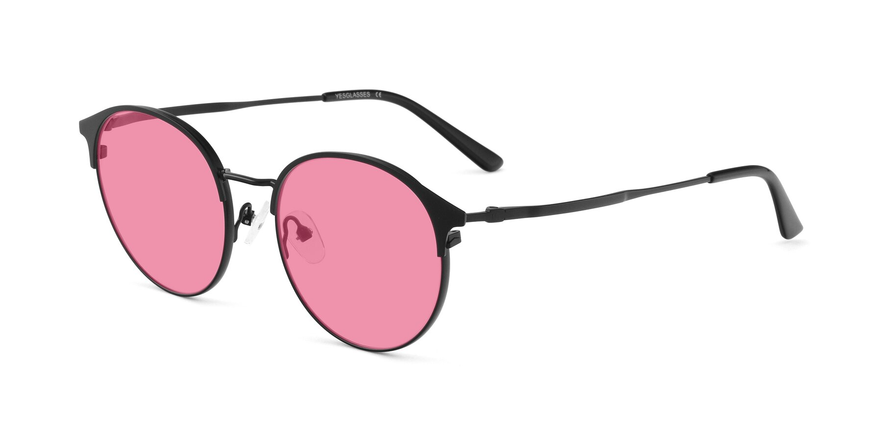Angle of Berkley in Matte Black with Pink Tinted Lenses