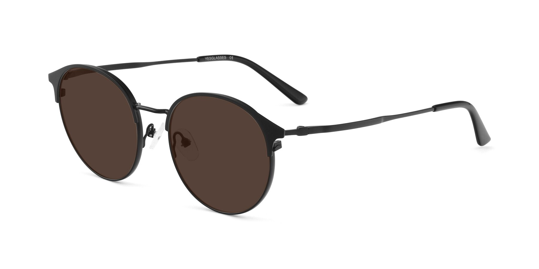 Angle of Berkley in Matte Black with Brown Tinted Lenses