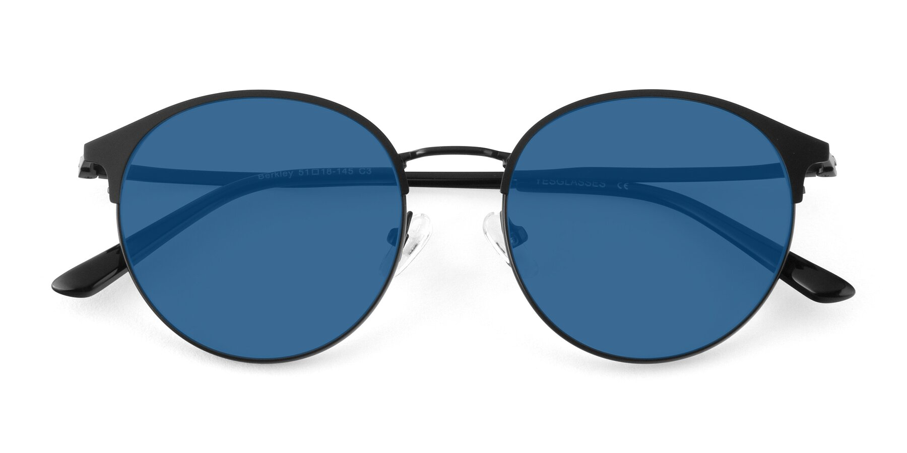 Folded Front of Berkley in Matte Black with Blue Tinted Lenses